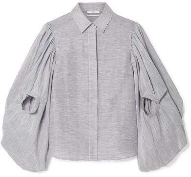 Co Pinstriped Textured Linen And Silk-blend Blouse