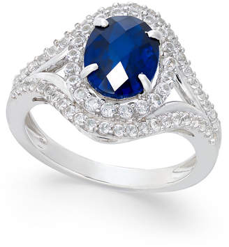 Macy's Lab-Created Blue Sapphire (2 ct. t.w.) and White Sapphire (3/4 ct. t.w.) in Sterling Silver