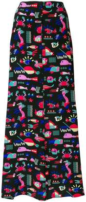 Emporio Armani printed maxi skirt