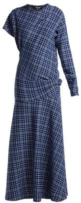 Calvin Klein Checked Cotton Blend Dress - Womens - Blue Multi