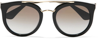 Prada - Cat-eye Acetate And Gold-tone Sunglasses - Black $360 thestylecure.com