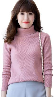 Jianai Women's Cashmere Long Sleeve Solid Ribbed Turtleneck Sweater Pullover