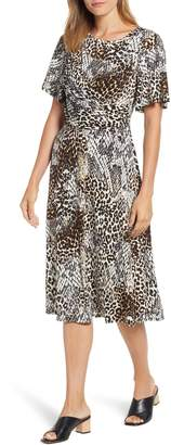 Chaus Exotic Animal Print Ruched Midi Dress