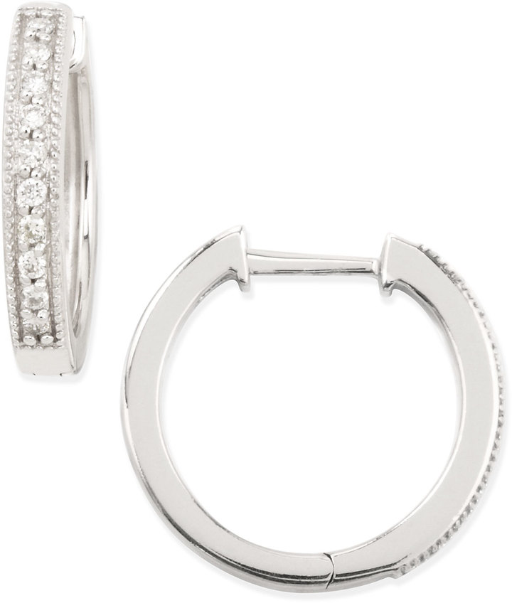 Jude Frances 18k White Gold Pave Diamond Hoop Earrings, 13.5mm