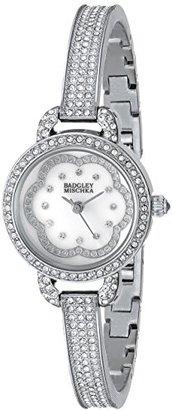 Badgley Mischka レディースBA / 1343wmsbスワロフスキーcrystal-accentedシルバートーンバングル腕時計