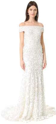 Theia Marina Off the Shoulder Petal Gown $1,495 thestylecure.com