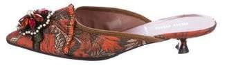 Miu Miu Embellished Brocade Mules