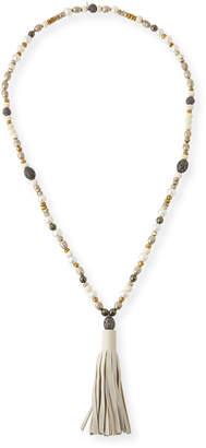 Hipchik Capri Beaded Leather Tassel Necklace