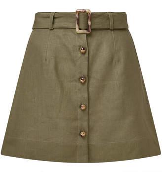 Lisa Marie Fernandez Belted Linen Mini Skirt
