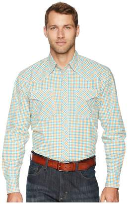 Wrangler 20X Long Sleeve Two-Pocket Competition Ac Snap Plaid Men's Long Sleeve Button Up