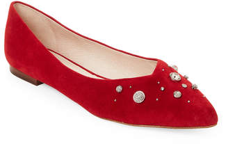 Louise et Cie Cherry Red Alwick Embellished Suede Flats