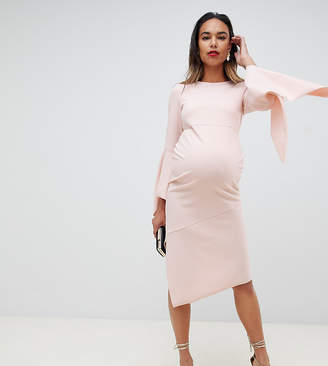 Asos DESIGN Maternity bodycon midi dress with flute sleeve