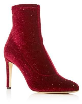 Giuseppe Zanotti Women's Stretch Glitter Velvet Pointed Toe Booties