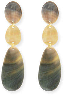 Viktoria Hayman Triple Drop Oval Shell Earrings