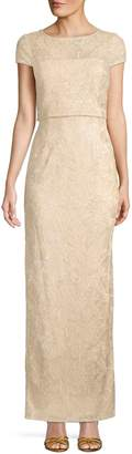 Adrianna Papell Embroidered Column Gown
