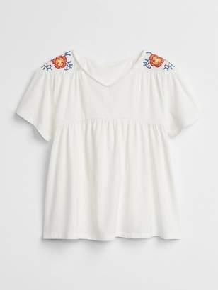 Gap Embroidered V-Neck T-Shirt