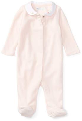 Ralph Lauren Velour Footie Pajamas w/ Flower Embroidery, White, Size Newborn-9 Months