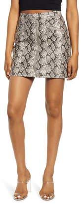 Blank NYC Blanknyc Faux Leather Snakeskin Miniskirt