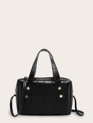 Shein Croc Embossed Satchel Bag With Double Handle