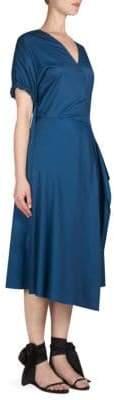 Cédric Charlier Short-Sleeve Wrap Front Dress