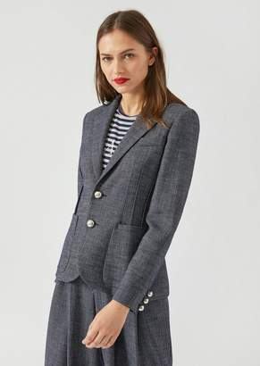 Emporio Armani Single-Breasted Melange Jacket With Side Pleats