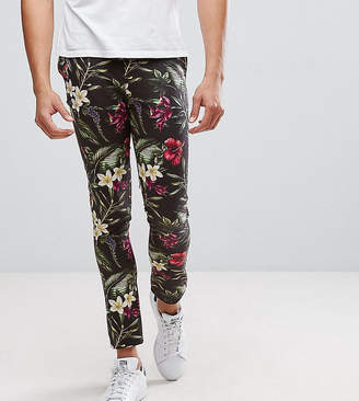 Asos Design TALL Super Skinny Pants In Bright Floral Leaf Print