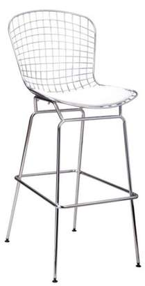 Mod Made Mid Century Modern Chrome Wire Barstool (White)