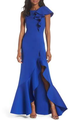 Eliza J Asymmetric Ruffle Gown