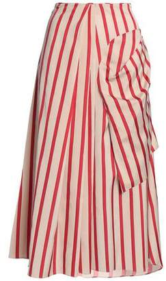 CHRISTOPHER ESBER Wrap-Effect Striped Woven Midi Skirt