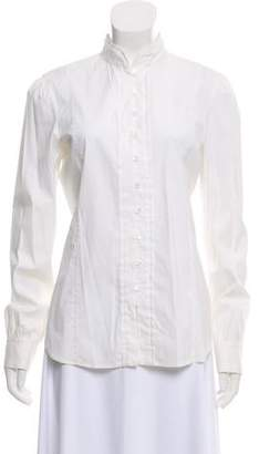 Theory Collarless Button-Up Blouse