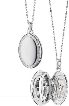 Monica Rich Kosann Sterling Silver Midi 4-Image Locket Necklace with White Sapphires, 32
