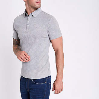 River Island Grey marl muscle fit ribbed polo shirt