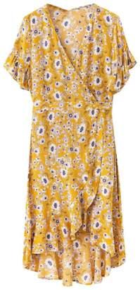 Goodnight Macaroon 'Katya' Floral Print Frilled Wrap Midi Dress (2 Colors)