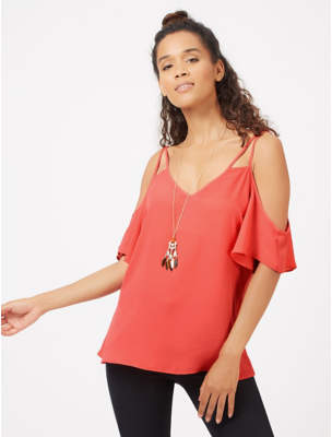 George Coral Cold Shoulder Camisole Top with Necklace