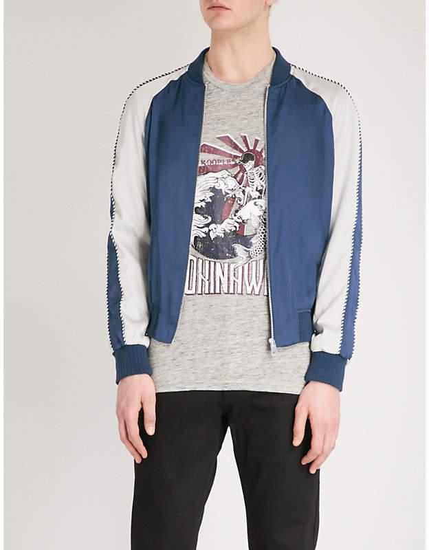Contrast-sleeve satin bomber jacket