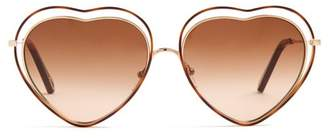Chloé - Poppy Heart Shaped Frame Sunglasses - Womens - Brown Multi