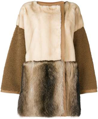 Yves Salomon panelled fur coat