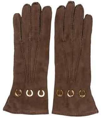 Gucci Suede Embellished Gloves