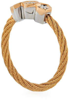 Alor 18k Rose Gold & Stainless Steel 3-Diamond Cable Ring, Size 7
