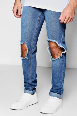 boohoo Mid Blue Ripped Knee Skinny Rigid Jeans