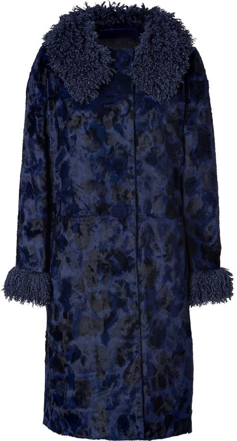 Anna Sui Cadet Blue/Black Faux Fur Coat