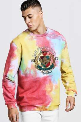 boohoo Loose Fit Tie Dye Sweater With Embroidery