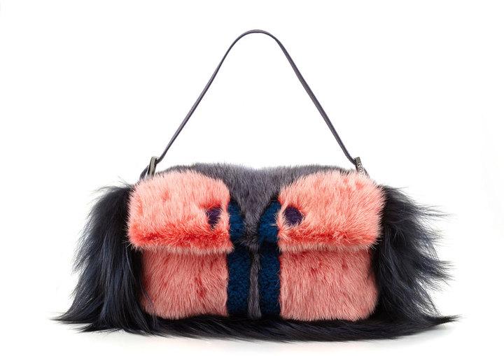 Fendi Fur Monster Baguette Bag, Pink