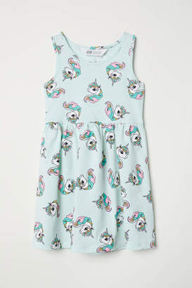 H&M Sleeveless Jersey Dress - White/butterflies - Kids