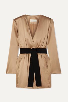 Fleur Du Mal Belted Silk-satin Mini Dress - Gold