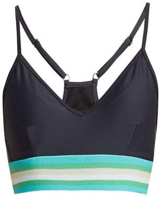 The Upside - Andie Striped Detail Performance Bra - Womens - Navy Print