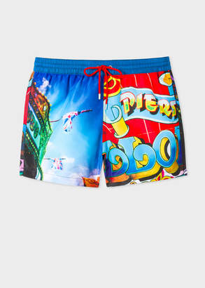 Paul Smith Men's Blue 'Brighton Photo' Print Swim Shorts