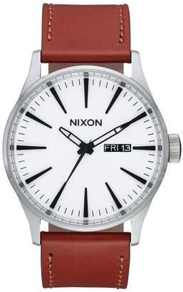 Nixon Sentry Leather Watch - Men's