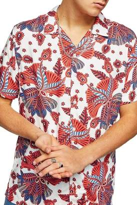 Topman Patterned Short Sleeve Classic Fit Shirt