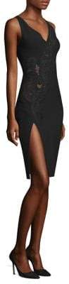 Versace Embroidered V-Neck Sheath Dress